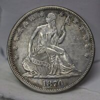 1870 P SEATED LIBERTY HALF DOLLAR SILVER 50C NO MOTTO AU 01260866B