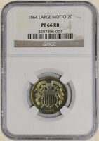 1864 TWO CENT 2C LARGE MOTTO PF66 RB NGC