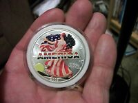 2003 UNCIRCULATED HAND PAINTED LADY LIBERTY AMERICA BALD EAGLE SILVER DOLLAR 1OZ