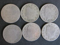 LIBERTY HEAD NICKEL 1900, 1901, 1903, 1904, 1905,1906 FIVE-CENTS 6 COIN LOT-GOOD