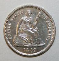 1869 S SEATED HALF DIME H56