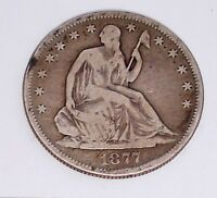 1877 S SILVER LIBERTY SEATED HALF DOLLAR   HISTORIC PIECE   ESTATE AUCTION