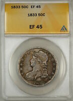 1833 CAPPED BUST SILVER HALF DOLLAR 50C COIN ANACS EF 45 9