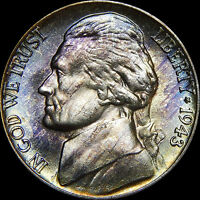 GEM/BU 1943 P JEFFERSON SILVER WARTIME NICKE WITHL BLUE/PURPLE COLORFUL TONE
