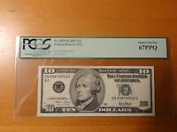 2001 $10 FEDERAL NOTE FRN FANCY SERIAL LADDER 09876543 PCGS 67PPQ SOLID