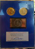 U.S. BICENTENNIAL GOLD SET 2 1976 GOLD PLATED KENNEDY HALVES W/23K GOLD STAMP