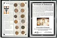 12 BRONZE ROMAN COINS RISE OF CHRISTIANITY IN ANCIENT ROME ALBUM & CERTIFICATE