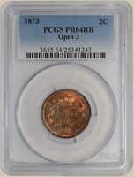 1873 TWO CENT 2C OPEN 3 PR64 RB PCGS