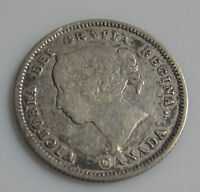 CANADA 1887 5 CENTS SILVER KEY DATE QUEEN VICTORIA SLIGHT REPUNCHING ON
