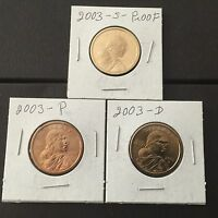 2003 P D S SACAGAWEA DOLLAR 3 COIN SET