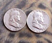 1957 AND 1958 FRANKLIN HALF DOLLARS. F. 90 SILVER. ADDITIONAL COINS SHIP FREE