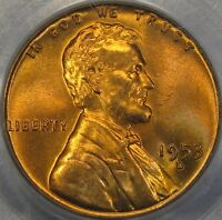 1953 D 1C PCGS MS66RD LINCOLN CENT   OBVERSE DIE CLASH