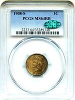 1908 S 1C PCGS/CAC MS64 RB   INDIAN CENT
