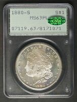 1880 S PROOF LIKE SILVER MORGAN DOLLAR PCGS MS63PL  CAC OLD GREEN HOLDER OGH