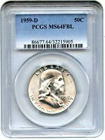 1959 D 50C PCGS MS64 FBL   FRANKLIN HALF DOLLAR