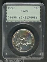 1957 FRANKLIN 50 HALF DOLLAR PCGS PR65 IN OLD GREEN RATTLER HOLDER