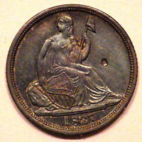 1837/1837 SEATED LIBERTY HALF DIME LARGE DATE RPD VP 001 MSU COIN CHOPMARK