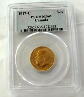 1917 C CANADA GOLD COIN SOVEREIGN GEORGE V  MS 63 BY PCGS GEM