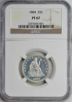 1884 LIBERTY SEATED 25C NGC PR 67