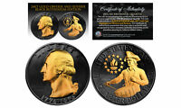 1976 BLACK RUTHENIUM BICENTENNIAL US QUARTER COIN W/ 24K GOLD FEATURES 2 SIDED