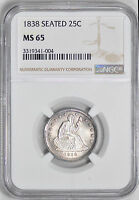 1838 LIBERTY SEATED 25C NGC MS 65