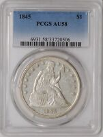 1845 SEATED LIBERTY DOLLAR $ AU58 PCGS