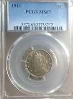 1911 5C LIBERTY NICKEL PCGS MINT STATE MINT STATE 63 WITH A SOFT YELLOW/BLUE FLUORESCENCE