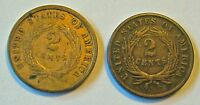 TWO CENTS 1864 LARGE MOTTO SIE CRACK DIE ROTATION 1865