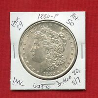 1880 VAM 29 HOT 50 BU UNC MORGAN SILVER DOLLAR 62540 MS US MINT  KEY ESTATE