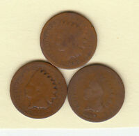 1864 1865 1875 //INDIAN HEAD CENTS/AVERAGE CIRCULATED /FAST  SHIPPING