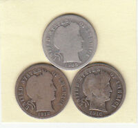 1905 S 1912 S 1916 S// BARBER DIMES//AVERAGE CIRCULATED///FAST SHIPPING