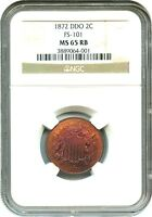 1872 2C NGC MINT STATE 65 RB DDO, FS-101 KEY DATE,  DOUBLED DIE - 2-CENT PIECE