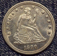 1890 SEATED LIBERTY QUARTER MS COIN WITH SPECTACULAR FIELDS
