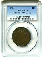1797 1C PCGS F12 BN REVERSE OF 1797, WITH STEMS  18TH CENTURY LARGE CENT