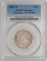 1857 O SEATED LIBERTY QUARTER 25C AU DETAILS PCGS