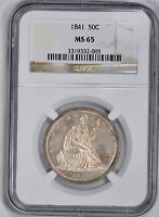 1841 LIBERTY SEATED 50C NGC MS 65