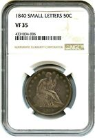 1840 50C NGC VF35 SMALL LETTERS LIBERTY SEATED HALF DOLLAR