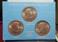 1979 P D & S    SUSAN B. ANTHONY 3 COIN SET BY LITTLETON UNCIRCULATED