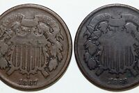 SHIPS FREE: 1 1867 -  GOOD & 1  1868 TWO CENT PIECES GOOD - NUM2175
