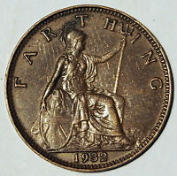 1932 FARTHING   KING GEORGE V   GREAT BRITAIN   AVERAGE CIRCULATED GRADE