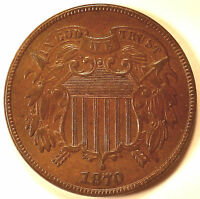 1870 TWO CENT PIECE AU COIN