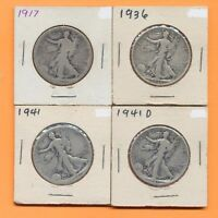 LOT 4 WALKING LIBERTY SILVER HALF DOLLARS 50 CENTS 1917 1936 1941 1941 D US COIN