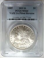1885 SILVER MORGAN DOLLAR PCGS MINT STATE 64 VAM 1A PITTED REVERSE MINT ERROR HOT 50