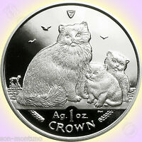 2007 ISLE OF MAN   RAGDOLL CAT COIN   1 OZ .999 SILVER PROOF WITH MINT BOX & COA