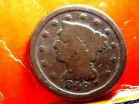 1848 BRAIDED HAIR EARLY COPPER LARGE CENT 2