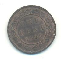VERY .CANADA ONE CENT 1859 WITH A.OVER.A IN CANADA.& TWO DIES CRACKS