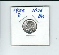 1954 D ROOSEVELT DIME IN BRILLANT UNCIRCULATED COND.