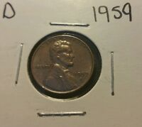 1959 D 1C RD LINCOLN CENT