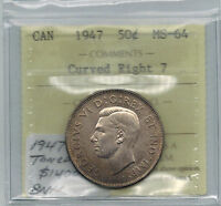 Click now to see the BUY IT NOW Price! CANADA 1947 CURVED RIGHT 7 50 CENTS   ICCS MS 64 VARIETY UNC