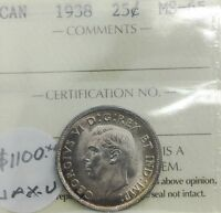 Click now to see the BUY IT NOW Price! CANADA 1938   25 CENTS MS 65  GEM UNC SILVER QUARTER  RIM TONING